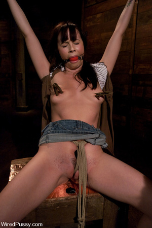 Slim girl bound, tied, wired on thighs a - XXX Dessert - Picture 2