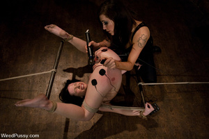 Slim girl bound, tied, wired on thighs a - XXX Dessert - Picture 7