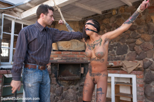 Pretty naughty tattooed babe tied to cha - XXX Dessert - Picture 5