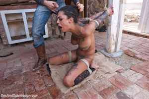 Pretty naughty tattooed babe tied to cha - XXX Dessert - Picture 7