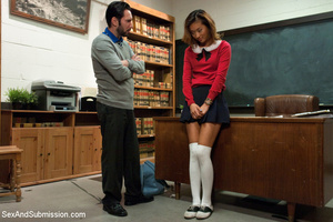 Bad student gets punished, striped, rope - XXX Dessert - Picture 1