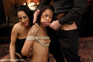 Babe enslaved by cute chick and guy who  - XXX Dessert - Picture 3