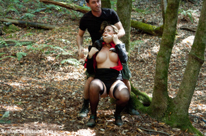Guy ropes two hot babes in the woods and - XXX Dessert - Picture 1