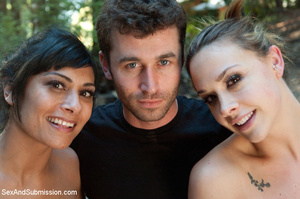 Guy ropes two hot babes in the woods and - XXX Dessert - Picture 13