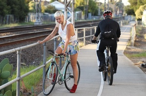 Blonde on bike gives a peep of sexy smal - XXX Dessert - Picture 1
