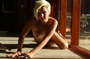 Sexy horny blonde strips off yellow dres - XXX Dessert - Picture 9