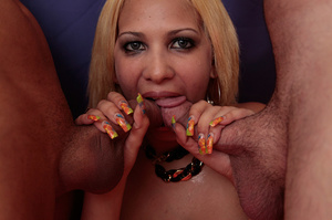 Curvy pretty blonde takes on two guys on - XXX Dessert - Picture 14