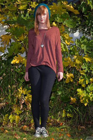 Cute ginger teen in a brown blouse and s - XXX Dessert - Picture 1