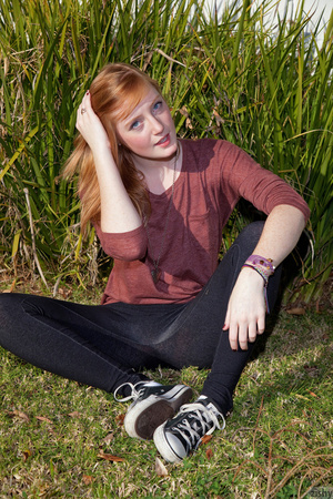 Cute ginger teen in a brown blouse and s - XXX Dessert - Picture 3