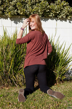 Cute ginger teen in a brown blouse and s - XXX Dessert - Picture 5