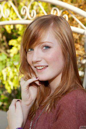 Cute ginger teen in a brown blouse and s - XXX Dessert - Picture 6