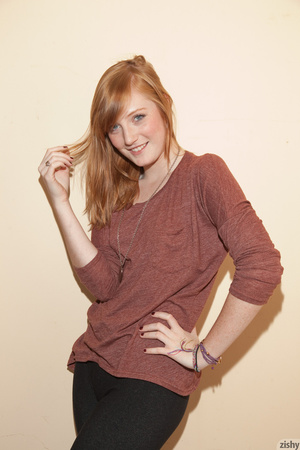 Cute ginger teen in a brown blouse and s - XXX Dessert - Picture 7