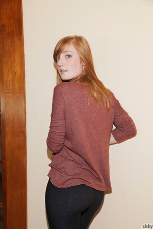 Cute ginger teen in a brown blouse and s - XXX Dessert - Picture 8