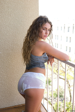 Curly blonde cutie in a grey top and whi - XXX Dessert - Picture 8