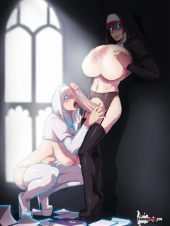 Big-titted transsexual nun fucking seduces her sister - Picture 4