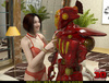 Busty brunette babe in red lingerie and stockings fucking with a red robot