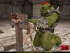Horny green orc in armor handling ponytailed fairy girl