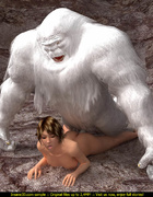 Horny Yeti pounding hard brunette scientist in his cave