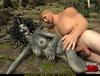 Blonde dude forcing Gorgon sucking his huge boner