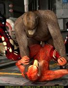 Fox-woman is happy to ride a stiff rod of hairy bear-man