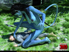 Big female blue striped creature with a tail riding dude's cock