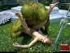Huge green orc pounding hard brunette fairy in doggy style