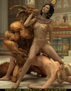 Egyptian queen and her blonde slave girl get banged by a muscular demon