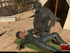 Lustful black female scientist giving head to an encage gorilla