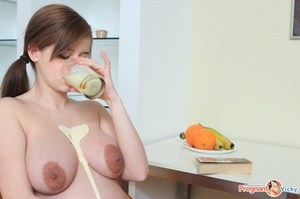 Young pregnant sexy chick feeling horny strips nude to play with cunt and tits - XXXonXXX - Pic 11