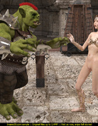 Nude alien chick with long ears gets screwed by big green monster on cross