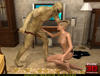 Cute blonde in sexy short dress fucked by bald monster from TV with snake