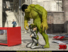 Angry Hulk cools off when blonde superhero sucks his big green dick