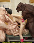 Big ugly white and black monsters in the gym get cute blonde and brunette