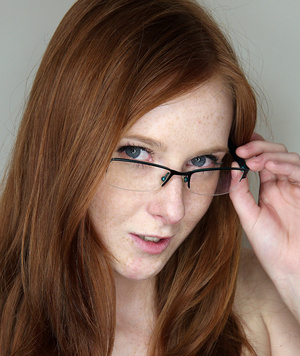 Ginger cutie in glasses gets her  tight  - XXX Dessert - Picture 1