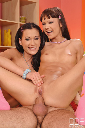 Two cute teen in blue and pink play with - XXX Dessert - Picture 16