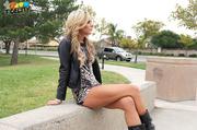 stunning blonde goes outdoor