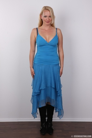 Slim blonde in cute blue dress seduces w - XXX Dessert - Picture 2