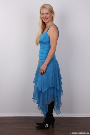 Slim blonde in cute blue dress seduces w - XXX Dessert - Picture 3