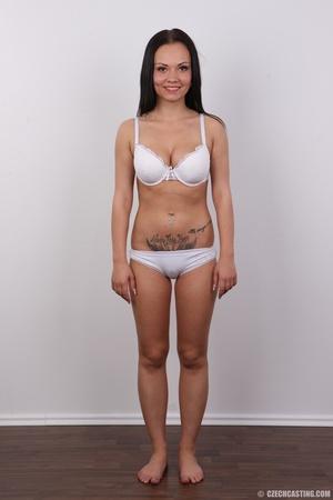 Slim dark hair beauty in white underwear - XXX Dessert - Picture 7