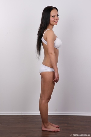 Slim dark hair beauty in white underwear - XXX Dessert - Picture 8