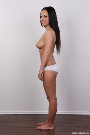 Slim dark hair beauty in white underwear - XXX Dessert - Picture 10