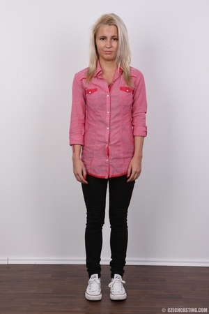 Cute blonde in pink shirt and black pant - XXX Dessert - Picture 2