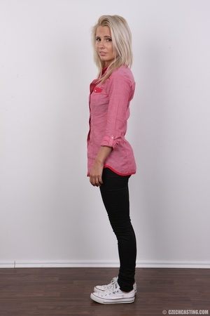Cute blonde in pink shirt and black pant - XXX Dessert - Picture 3