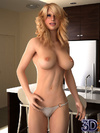 Cracked 3D blondie gets naked to demonstrated her perfect forms