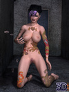 Nasty toon girls with colorful tattoos and purple hair posing naked
