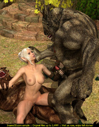 Two big orcs drilling dirtily ponytailed blonde fairy