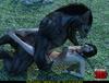 Big black werewolf captured short-haired brunette vixen for dirty sexual