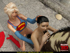 Blonde Supergirl and her brunette ponytailed friend getting pounded badly