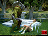 Horny green orc drilling badly cute ginger elf girl in white boots
