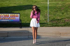 Busty brunette teen in a white skirt get - XXX Dessert - Picture 9